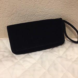 Handbags - Black velvet wristlet wallet clutch with mirror